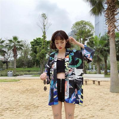Houou Women's Kimono Jacket demonstration to the beach