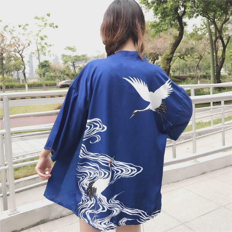 Women's blue Kimono Jacket Misao back view
