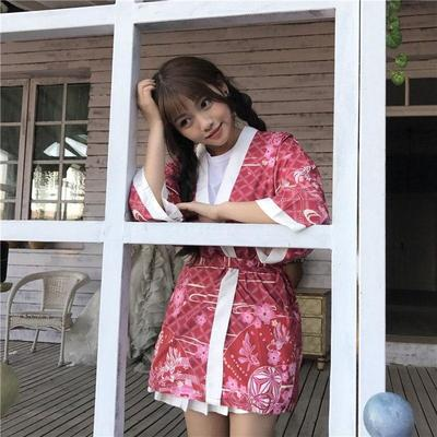 red Kimono Jacket Women Temari for home
