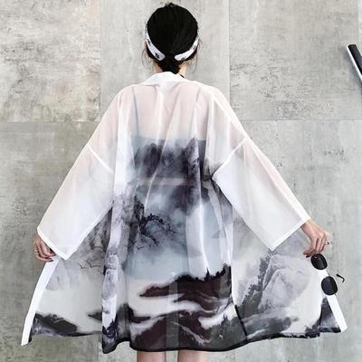 Black and White Women's Long Kimono Jacket