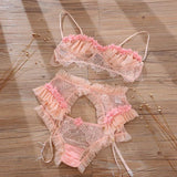 4 in 1 Cute Open Cup Design Lingerie Set