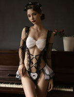 4 in 1 Vintage Lace Criss Cross Ruffle Lingerie Sets