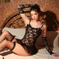 Black Lace Embroidery Wedding Lingerie Set