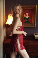 Satin Silky Side Strap Nightgownt, Elegant Lingerie Dress, Plus Sizes Available