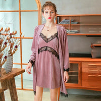 Delightful Corduroy Lace Nightgown/ Matching Robe