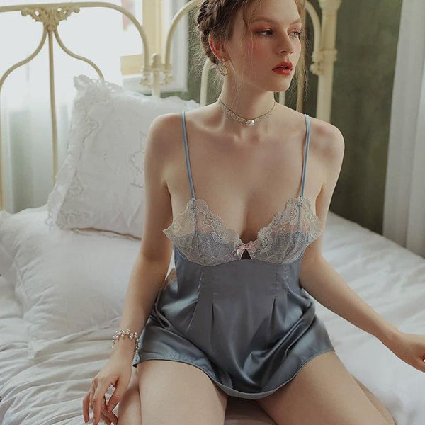 Elegant Bowknot Lace Embroidered Nightgown, Exquisite Lingerie Dress
