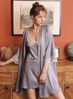 Elegant Satin Lace Embroidery Nightgown/Robe
