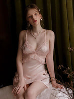 Elegant Satin Lace Nightgown, Exquisite Lingerie Dress pink