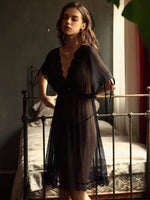 Elegant Sheer Lace Nightgown, Plus Sizes Available