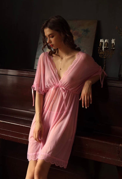 Elegant Sheer Lace Nightgown, Plus Sizes Available PINK