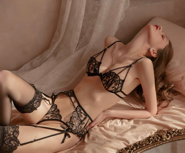 4 in 1 Exquisite Beaded Lace Lingerie Set