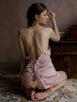Romantic Satin Floral Embroidered Nightgown /The Matching Robe