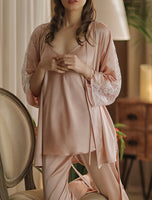 3-pc Satin Vintage Pajama Set