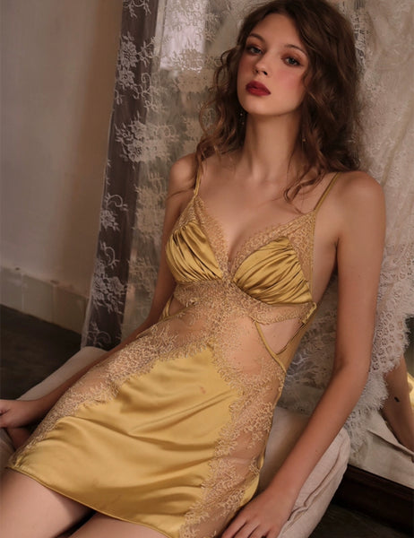Alluring Satin Lace Embroidered Nightgown, Super Exquisite Lingerie Dress