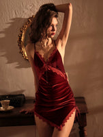 Spicy Rose Velvet Lace Nightgown