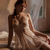 Lace and Mesh Open Back Babydoll Lingerie Set, Exquisite Nightgown