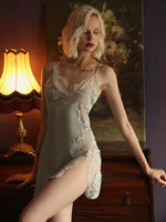 Magnificent Vintage Satin Silky Floral Embroidery Nightgown, Elegant Lingerie Dress, Chemise