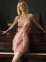 Never Say Never Silky Satin and Lace Nightgown, Exquisite Floral Lingerie Dress