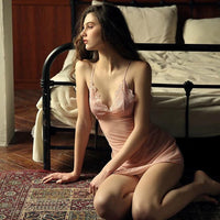 On Your Mind Sheer Mesh Lace Chemise Nightgown