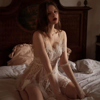 Playful Sheer Floral Lace Nightgown