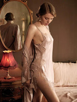 Satin Lace Embroidered Nightgown Sets