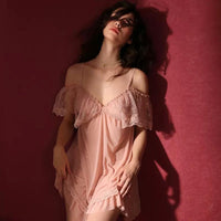 Sheer Off Shoulder Lingerie Dress, Sexy Nightgown