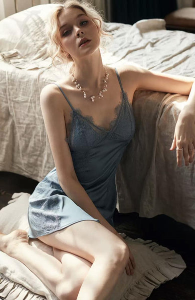 Simply Elegant Satin Lace Chemise Dress Nightgown