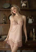 Sweet Little Bowknot Floral Nightgown, Exquisite Lingerie Dress