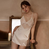 Sweet Reveal Lace Satin Chemise Nightgown, Exquisite Lingerie Dress