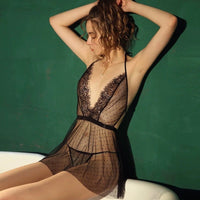 Deep V Sheer Lace Nightgown, Sexy Ligerie Sets