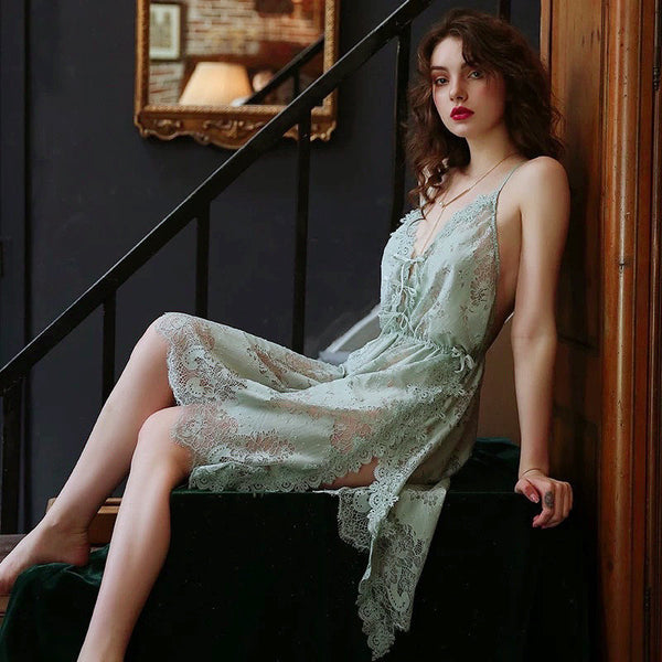 Vintage To Die for Embroidered Lace Nightgown, Elegant Lingerie Dress, Plus Sizes Available