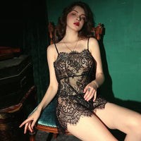Lace See Through Crown Nightgown Lingerie Set