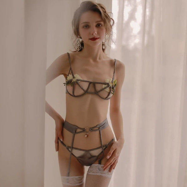 Hollow Out Satin Lingerie Set