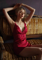 Romantic Satin Floral Embroidered Nightgown, Exquisite Lingerie Dress