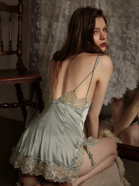 Elegant Charming Back Lace Embroidered Nightgown, Exquisite Lingerie Dress