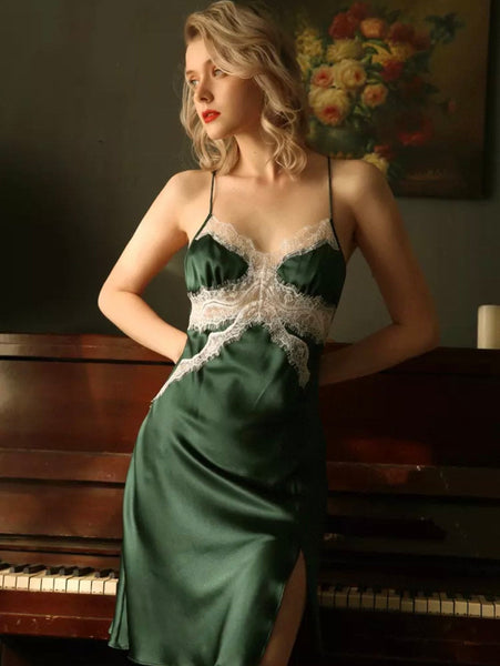 Emerald Elegant Satin Lace Embroidered Night Gown, Exquisite Lingerie Dress