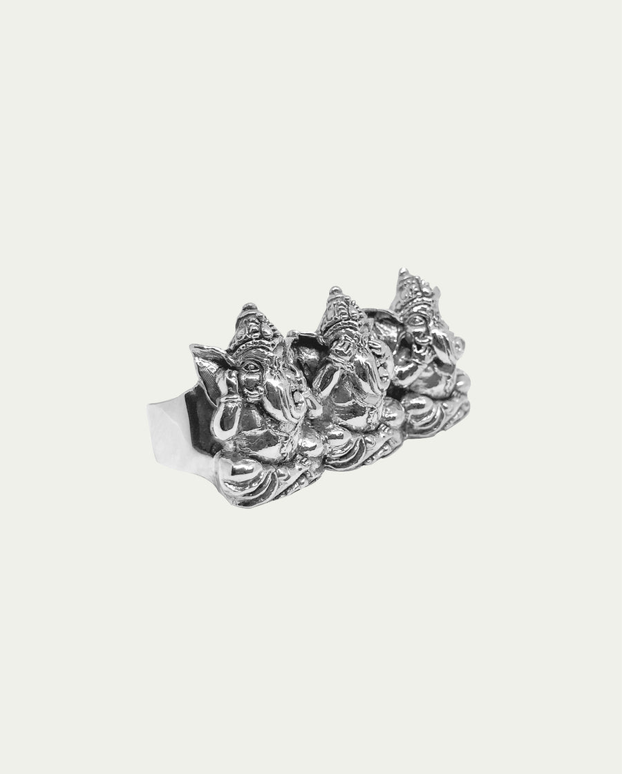 THREE WISE GANESHA 3 FINGER RING