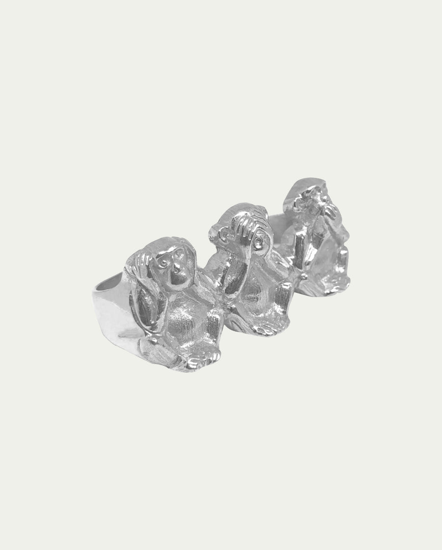THREE WISE MONKEYS 3 FINGER RING