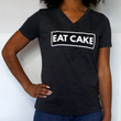 WOMEN'S EAT CAKE V-NECK T-SHIRT GREY