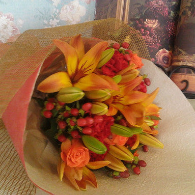 Autumn Leaves Bouquet -Warm tones of fading leaves, oranges, reds & yellows
