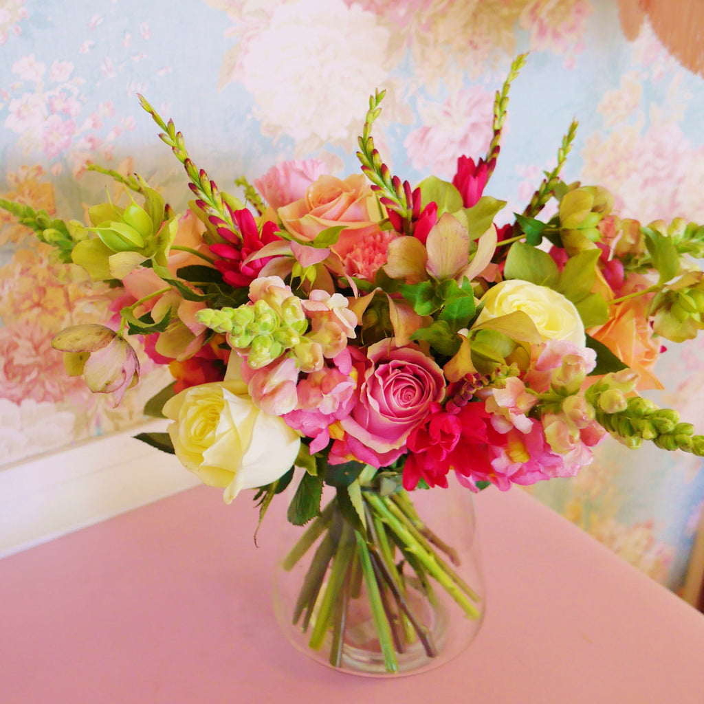"Belissima - ""Most beautiful"" vase arrangement of bright pastels."