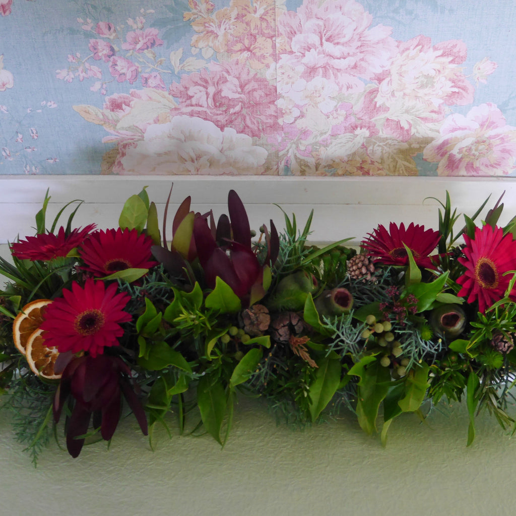 Christmas themed Mantle or Table Arrangement in 2 sizes or custom made to length.