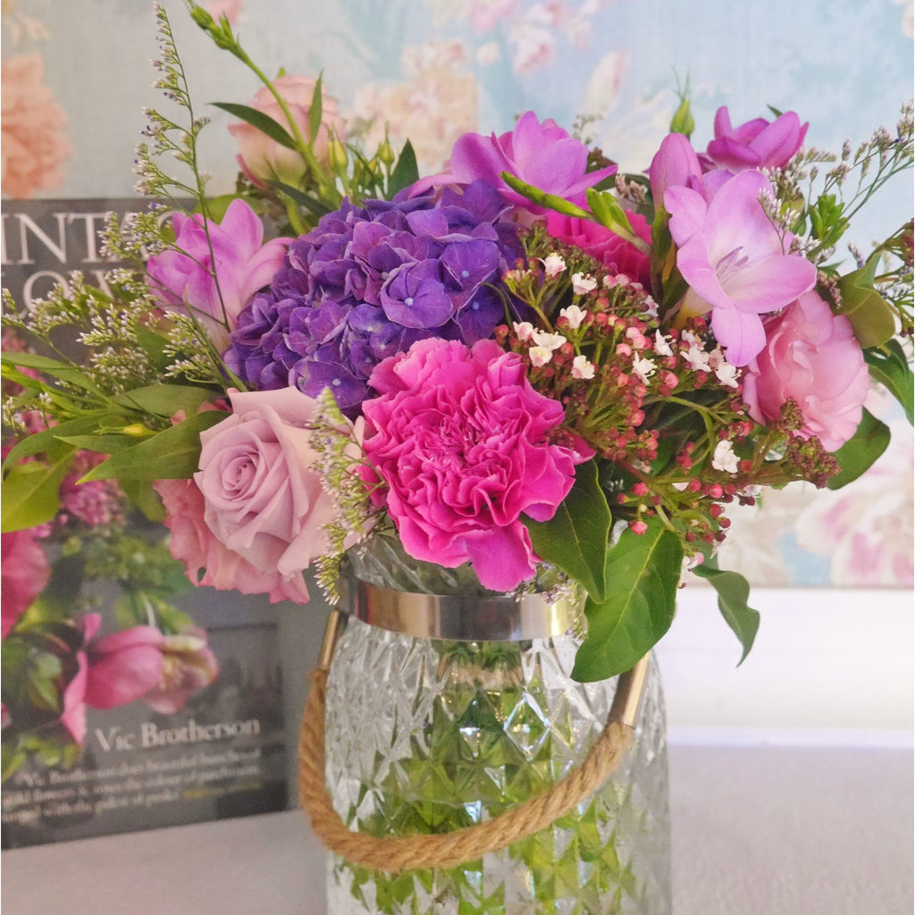 Vintage style posy in Jewel Colours in Vintage Style Diamond Cut Vase