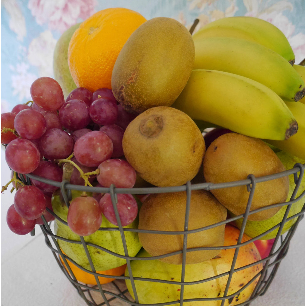 Hand picked fresh fruit. The best of seasonal fruit delivered in a retro style wire re-usable basket.