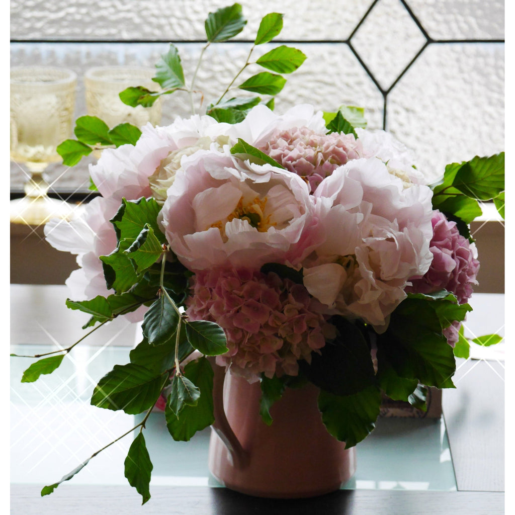 Blush Peony arrangement in a Pale Pink Vintage Style Ceramic Vase.