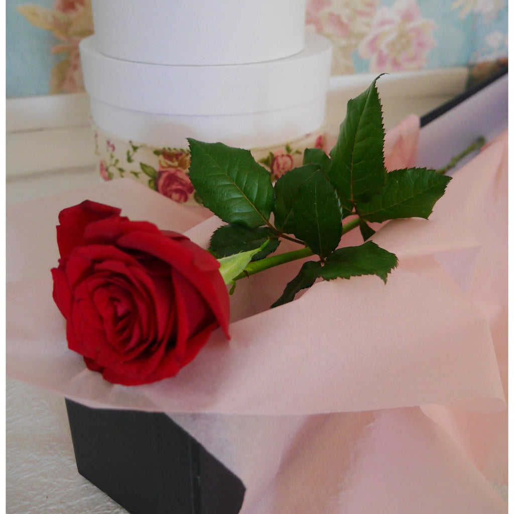 "One Love.  A single red rose can sometimes say it all!  A simple message to your ""one Love"".  Premium long stem red rose caressed with soft pink tissue and delivered protected in a quality rose box tied off with roses scented ribbons."