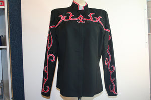 Budget Black with Red Trim, Ladies XL Showmanship Jacket 0962A