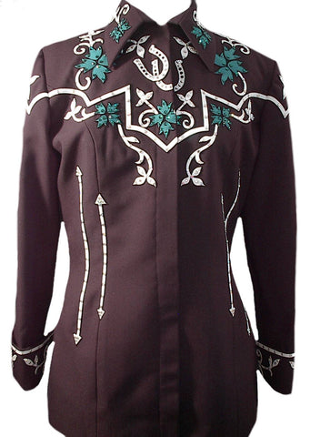 Budget Blk Jacket w/red and green, Ladies L, 1343A