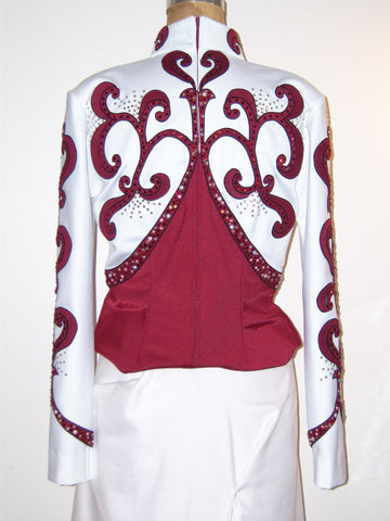 Budget 4 pc Burgundy/White Horsemanship Outfit, Ladies M 0693A-D