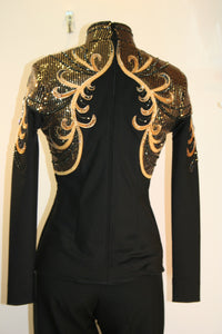 #0429 Black StretchnShow Blouse with Bronze and Gold, Ladies S  6798-30